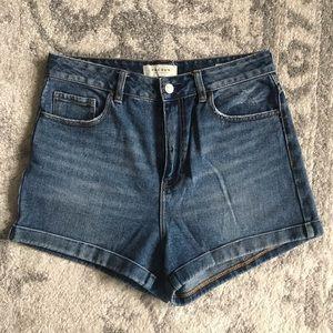 PacSun Medium Wash High Waisted Mom Shorts 29